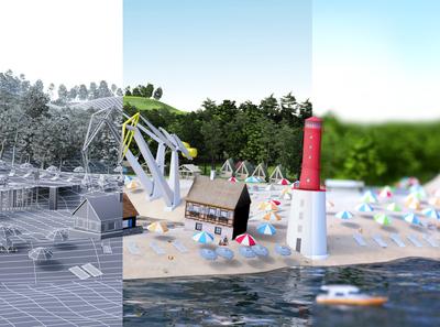 3D maquete town city maquete map cinema 4d after effect compositing illustration design art direction cinema4d c4d 3d octane