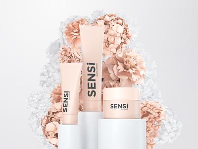 Sensi Creams Visualization product rendering cosmatics beauty packshot product design cg advertising branding design octane cinema4d c4d 3d