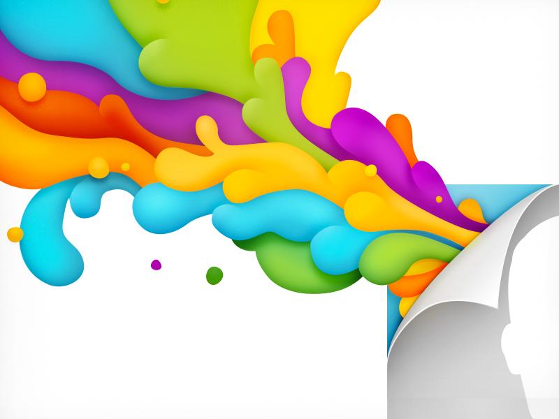 Splash illustration psychedelic colors rainbow 60s liquid avatar splash