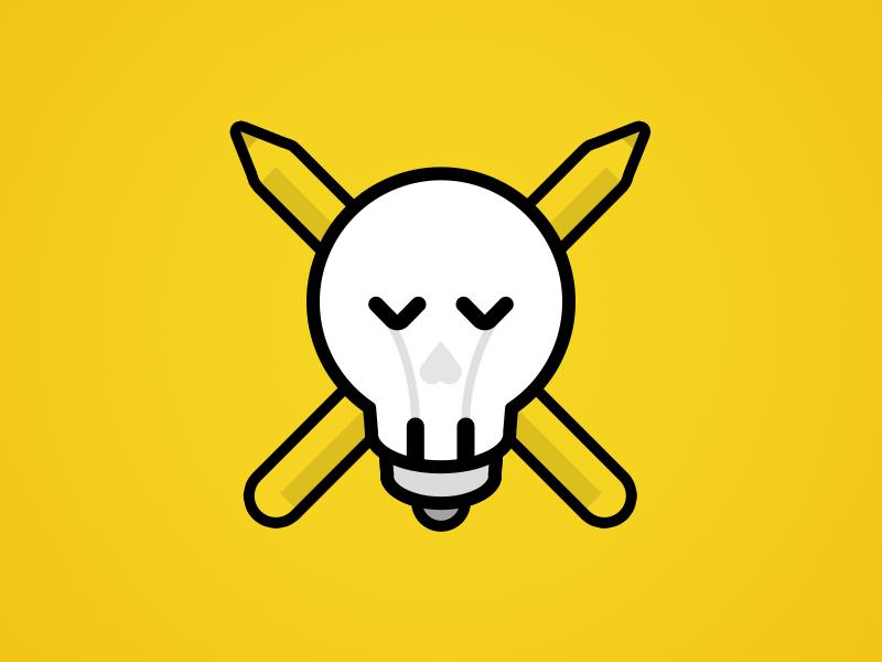 Death of a designer yellow creative block death skull idea lightbulb illustration pencil