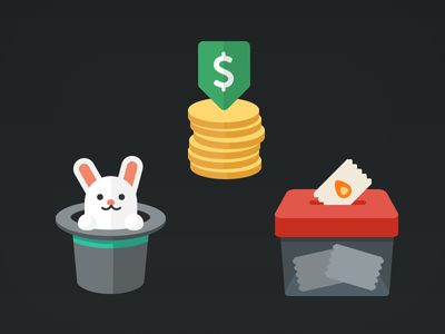 Things bunny hat coins money vote box icons illustration