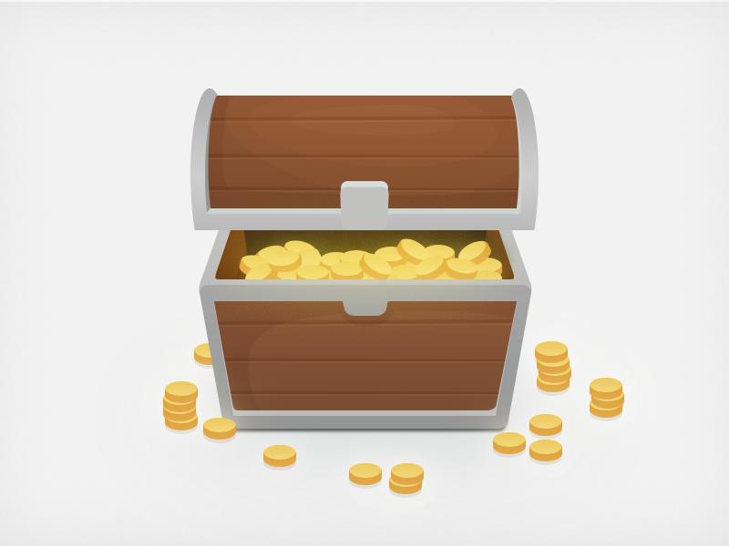 Treasure Chest coins treasure chest wood illustration
