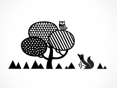 Die Eule und der Fuchs illustration nordic fox owl tree animals