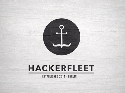 Hackerfleet (sketch) anchor code retro sea sailor ship black logo
