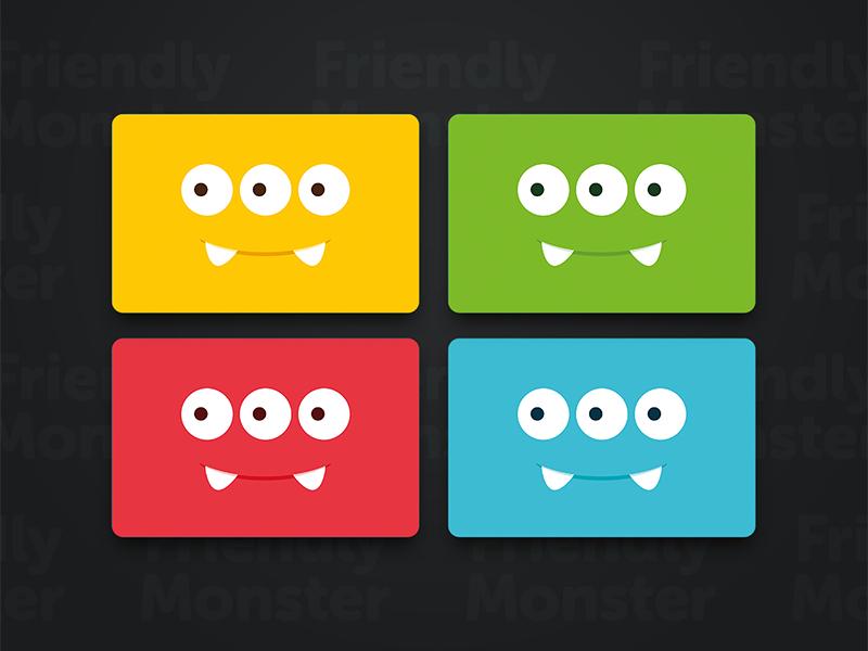 Friendly Monster business cards. color. teeth eyes business cards branding monster illustration minimal design