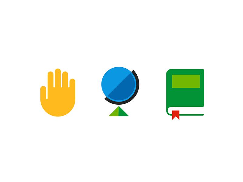 MyGestunary Visual Language Exploration blue yellow green minimal bookmark dictionary book globe hand icon illustration design