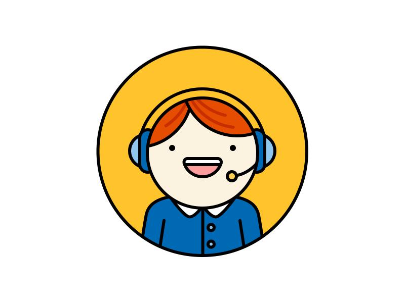 Hello Operator! microphone headphones orange blue colour color person operator illustration