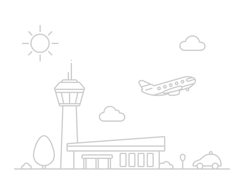 Airport (Mini) line tree sun control tower terminal car clouds plane airport illustration