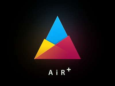 Air+ logo magenta cyan yellow black triangle light