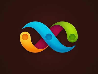 Identity 04 magenta identity logo infinite colors blue yellow green pink brown dots