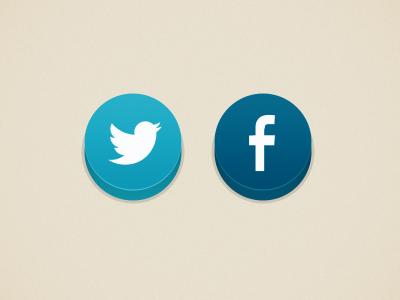 Social Buttons twitter facebook buttons volume blue social