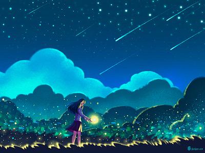 Fireflies & Stars light fireflies blue star cartoon art design illustration