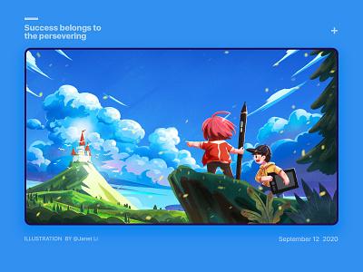 Success belongs to the persevering procreate skype girl design illustration