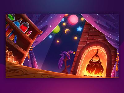 House of the sorceress cartoon design art illustration