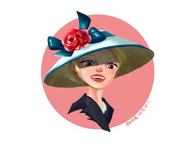 Lady with a hat wamen girl cartoon art illustration