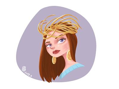 Redhead woman design art illustration