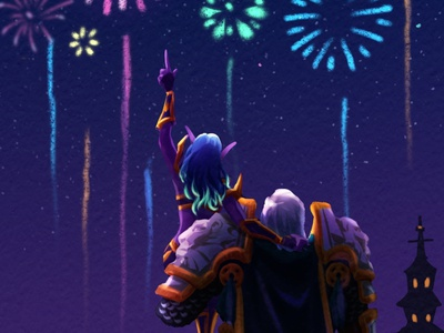 Happy new year! wow art illustration