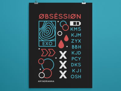 Obsession poster design kpop poster vector illustration exo design