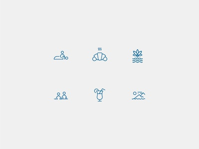 Relaxing holidays icons set