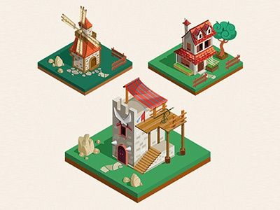 Medieval Buildings isometric style
