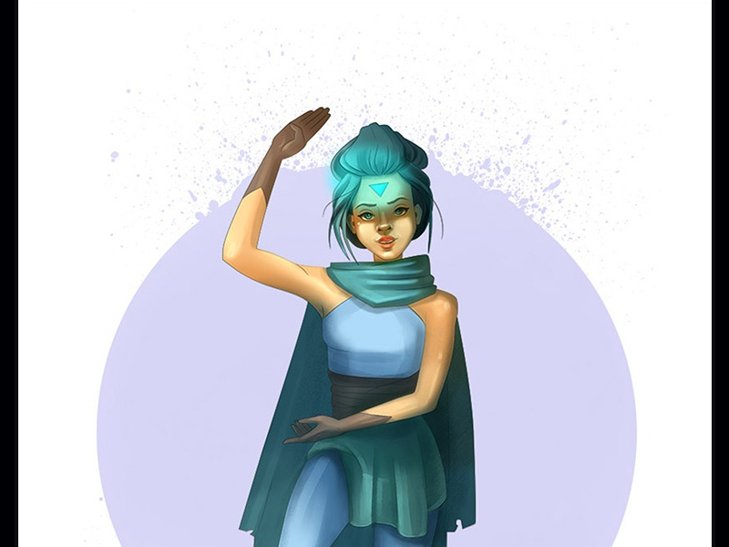 Shaolin character concept girl blue game illustration character design
