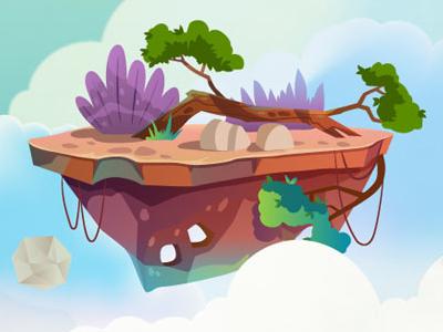 Jungle islands rock green tree design 2d background islands
