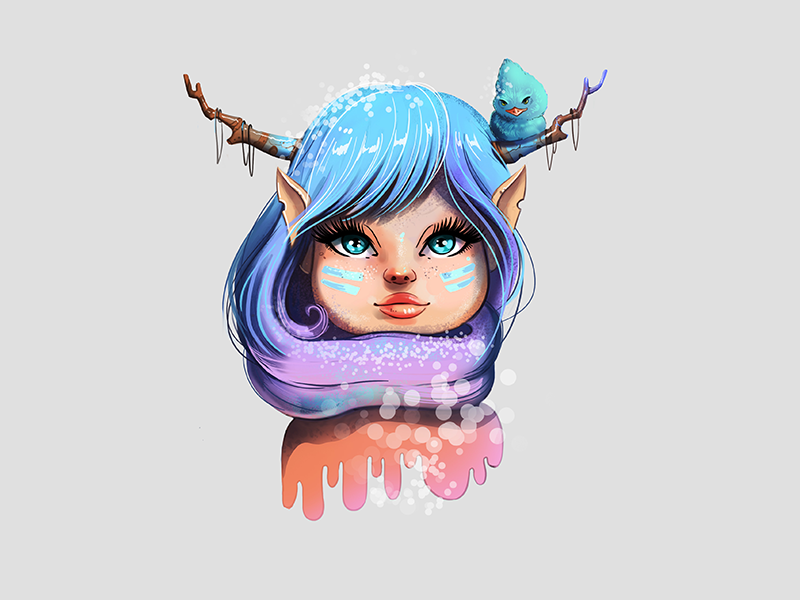Deer girl character sketch colors blue bird snow winter digital christmas illustration cute