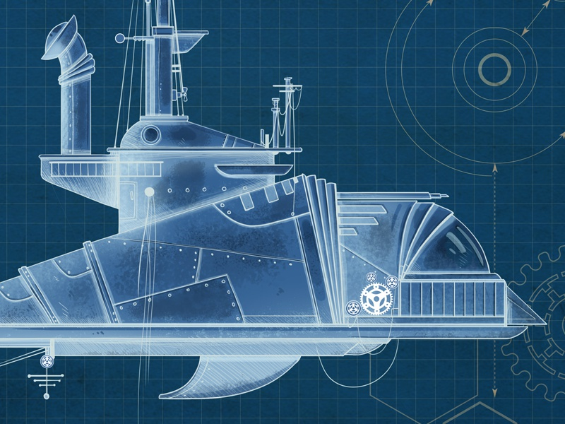 Submarine blue print steampunk design concept illusrtation print ship submarine