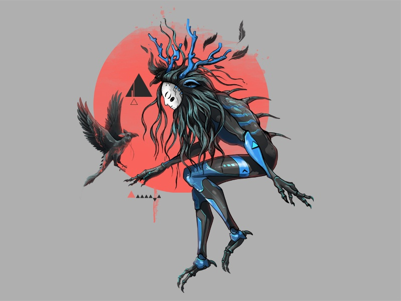 Red SUN painting fantasy creature progress illustration digital character design