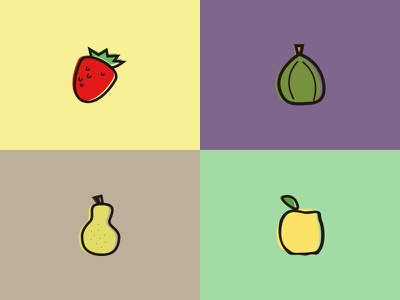 Jam Fruits flat quince fig pear strawberry jam fruits illustrations