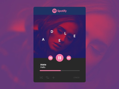 Spotify Widget Concept shuffle interface ux ui play widget music player music adele spotify