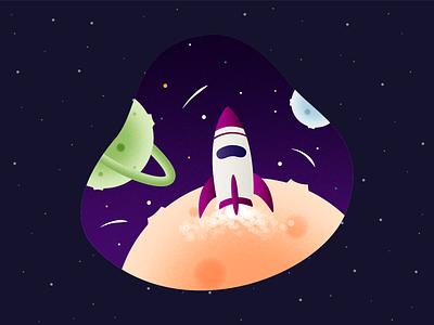 C•1505 - Rocket landing vector art shooting stars grain texture grain vector illustration shooting star planet stars rocket spaceship space ux ui vector illustration app design mobile app design colorful