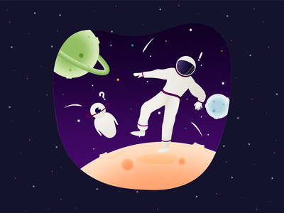C•1505 - Lost in the universe ? helping help vector art shooting star shooting stars robot lost design planet vector illustration stars spaceman space illustration ux vector ui colorful mobile app app design