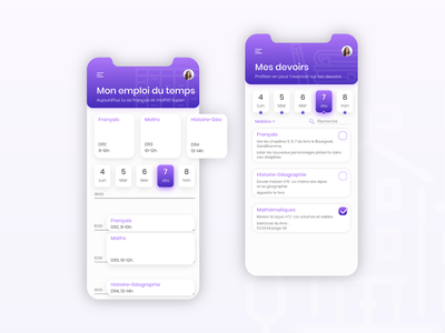 Pronote rebranding - Timetable ui colorful timetable branding school app mobile ui mobile app design design mobile design mobile app education app app design