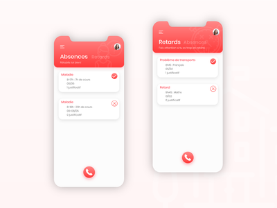 Pronote rebranding - Absences and lateness colorful ui school app mobile ui mobile design mobile app design mobile app education app design app design