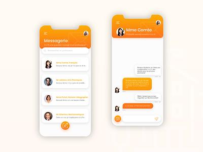 Pronote rebranding - Messages contact messenger messages colorful ui school app mobile ui mobile design mobile app design mobile app education app design app design