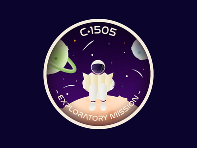 C•1505 - Exploratory Mission logo spaceman colorful stars planet badge astronaut space vector vector illustration weekly challenge weekly warm-up illustration