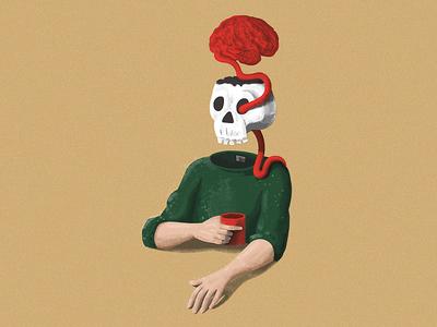 Skull & Brain illustration coffee brain skull