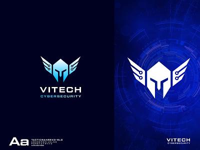 Vitech Cyber Security Logo logo design logodesigner cyber security warrior logo viking logo cybersecurity design creative logo vector logo branding