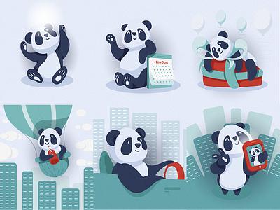 Character PanDA cartoons concept pandas personage character icon tablet flat vector art illustration design