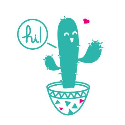 hi! cactus cacti illustration vector