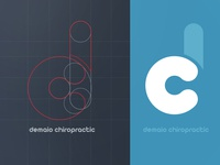 Demaio Chiropractic Logo logo design blue white circles vector flat grid chiropractic medical doctor