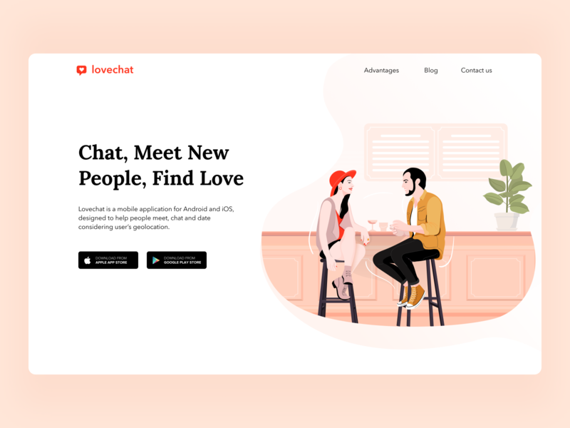 Lovechat App Landing Page dating colors vector design web dribbble uigiants illustration ux ui