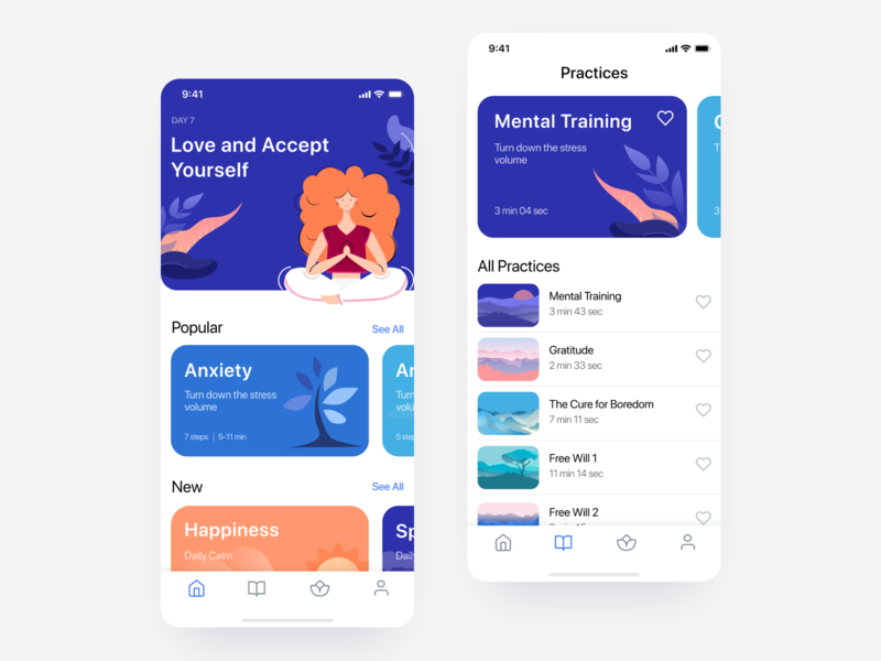 Meditation iOS app - Home and Practices screens illustrations ux ui ui kit mobile app relaxing app mental health meditation app