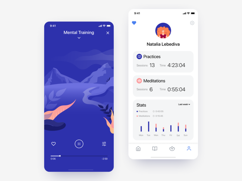 Meditation iOS app - Practice and Profile screens illustrations ux ui ui kit mobile app relaxing app mental health meditation app