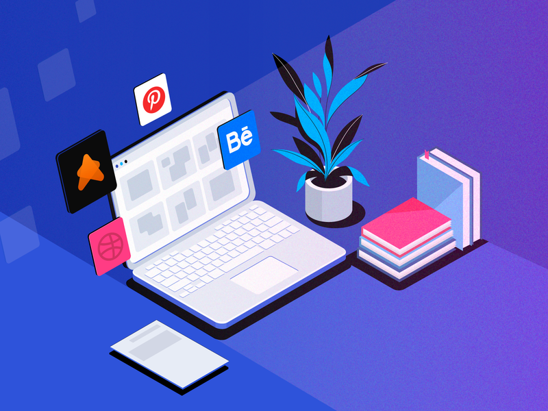 Illustration for the article - Altenatives to Dribbble social network icons graphic design community uigiants behance pinterest dribbble vector illustration