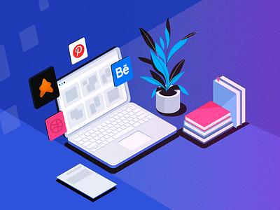 Illustration for the article - Altenatives to Dribbble social network icons graphic design community uigiants behance pinterest dribbble vector illustration
