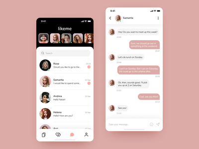 Dating iOS App - Messages list and Chat screens uigiants mobile design conversation ios mobile app mobile ux ui messaging app messenger chatting chat