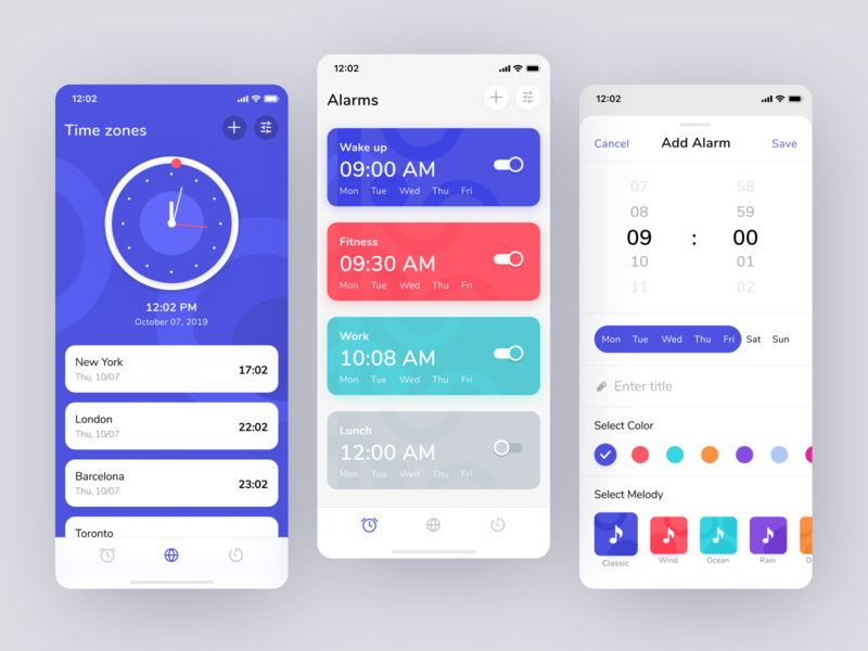 Clock iOS app user interface graphic design settings date product design timer time alarm app watch uigiants ux ui ios mobile clock app