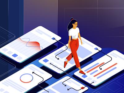 Interactive Prototypes Illustration screens prototypes girl work dribbble design web vector uigiants illustration ux ui
